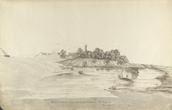 f.8'   Sketch of Lt Brett's House with Pagoda and Garden.  Sholapoor.  December. 1836.'